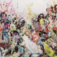 Large figurative Abstract painting representing a crowd and its interior