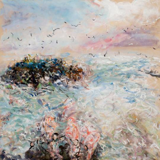 Mixed media on panel - movement of people and ocean at Westcliff in Santa Cruz