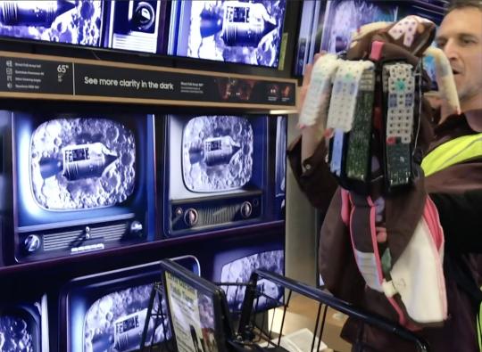 remote trash creature loves the TVs